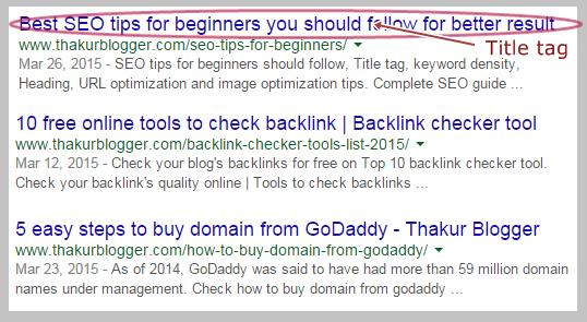 Title tag  HTML meta tags   Thakur Blogger