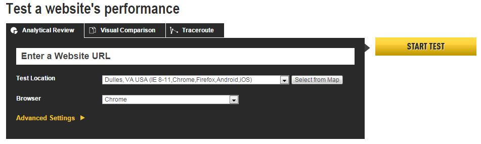 Webpage Test Website spedd test tool
