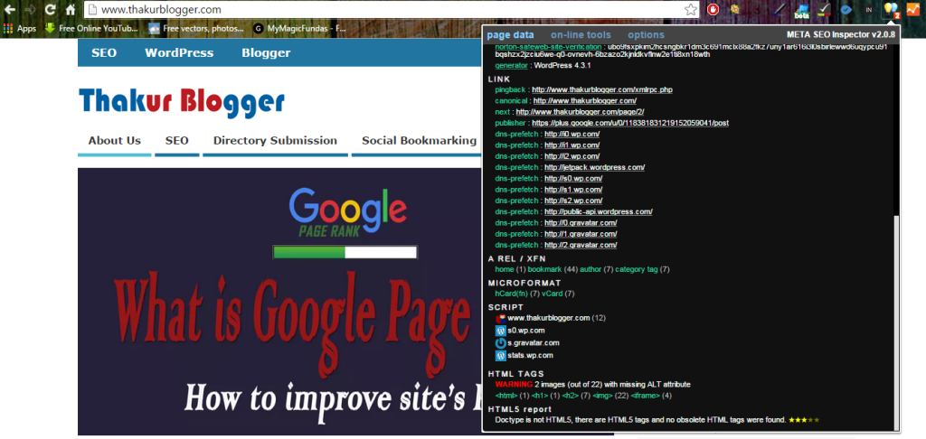 Meta SEO inspector - chrome SEO extension | Thakur Blogger