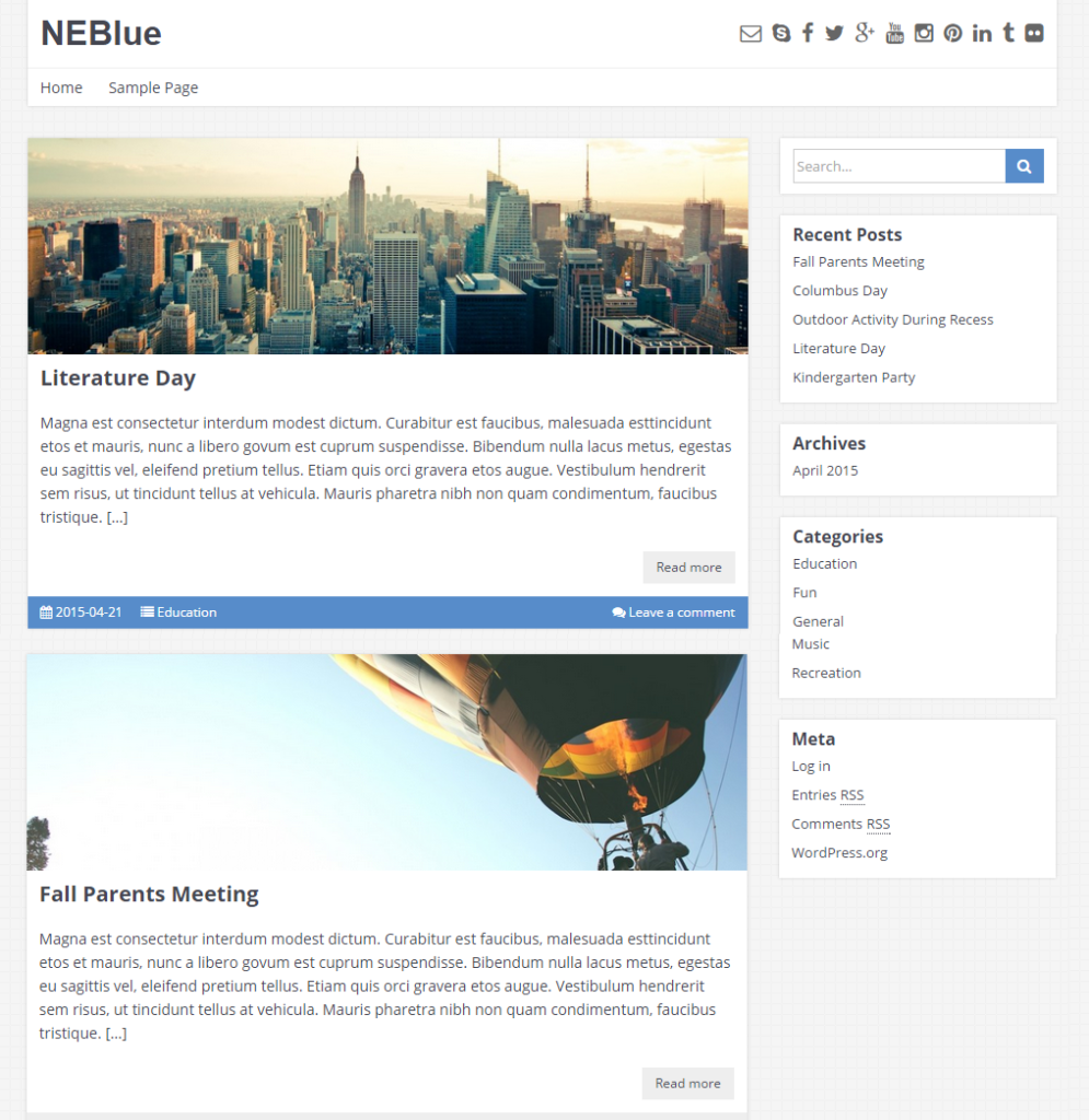 NEBlue free wordpress templates - Blogging themes | Thakur Blogger