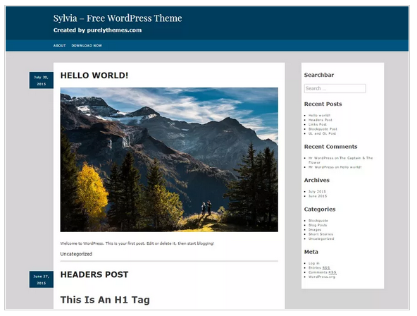 Sylvia free wordpress templates - Blogging themes | Thakur Blogger