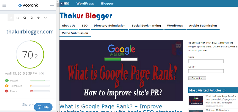 WooRank SEO & Website review - chrome SEO extension| Thakur Blogger