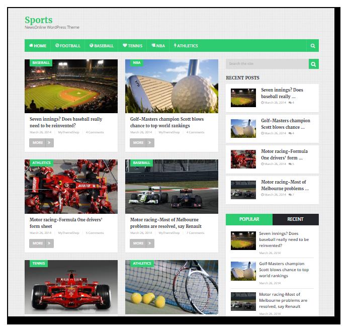 Sports Online News theme - WordPress blog themes