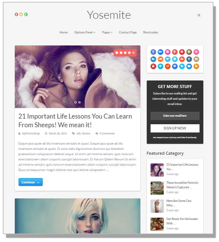 Yosemite theme - WordPress Blog themes - Thakur Blogger