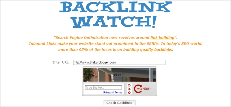 Best free Backlink checker tool - Backlink Watch