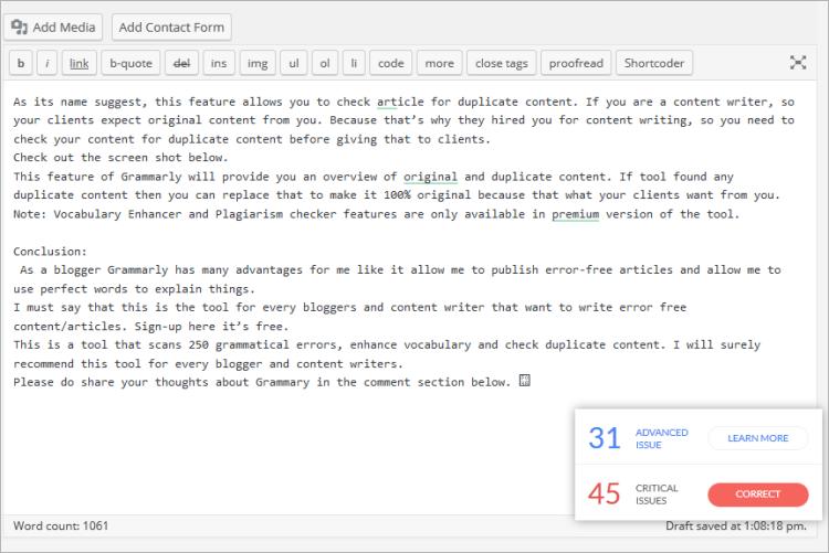 Grammarly - Online  free grammar checker