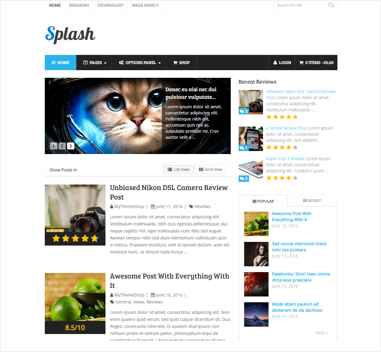 Splash Theme review - Blogging wordpress theme