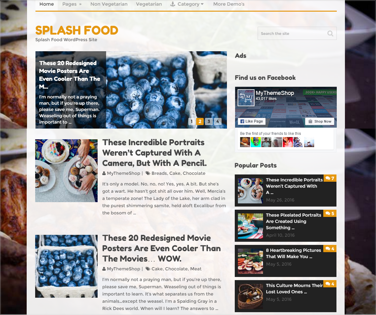 Splash theme - Food blogging website theme