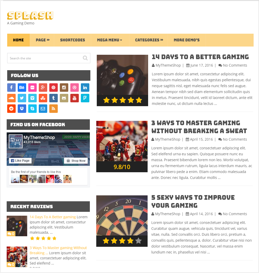 Splash theme - Gamming  wordpress theme