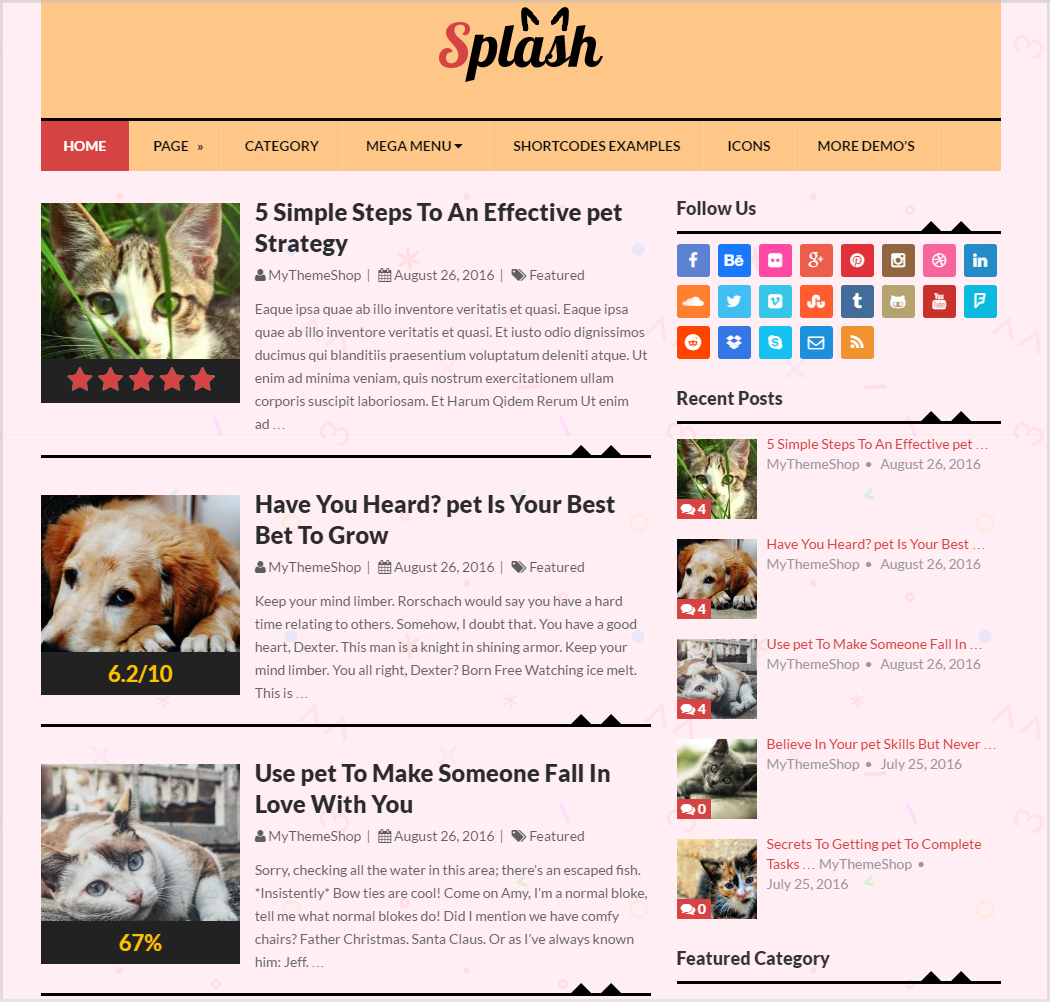 Splash theme Pet Demo - WordPress blogging theme
