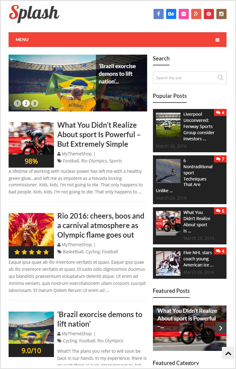 Splash theme Sports Demo - WordPress blogging theme