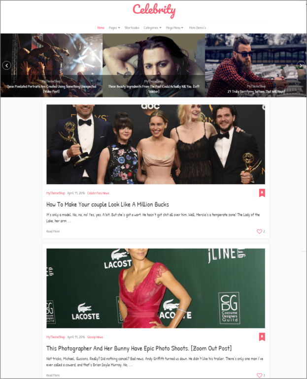 Celebrity WordPress blog template - Thakur Blogger