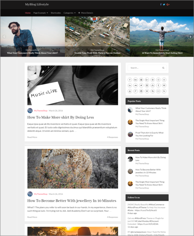 Lifestyle WordPress blogging template
