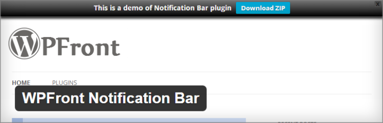 WP Front notification bar plugin wordpress