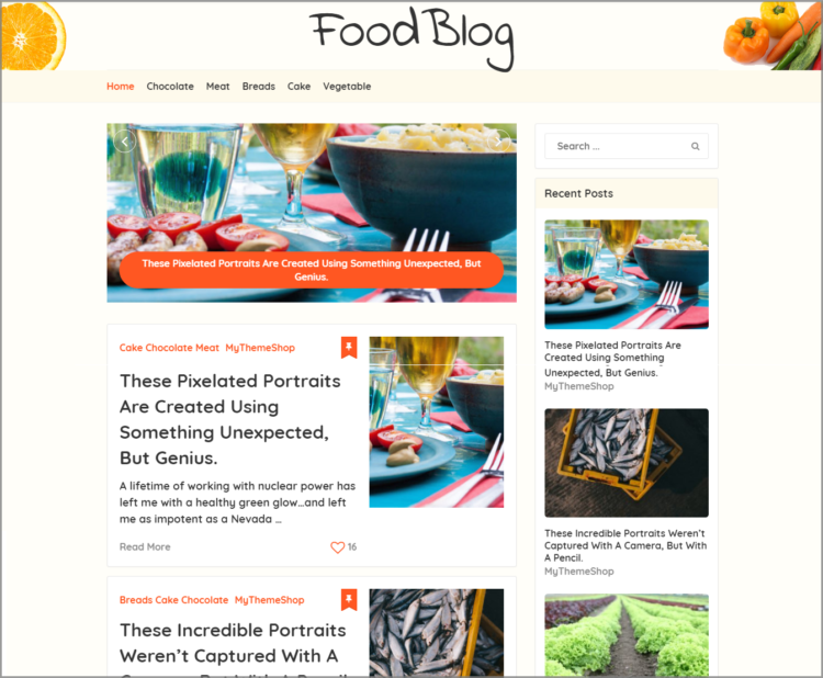food blog template for wordpress
