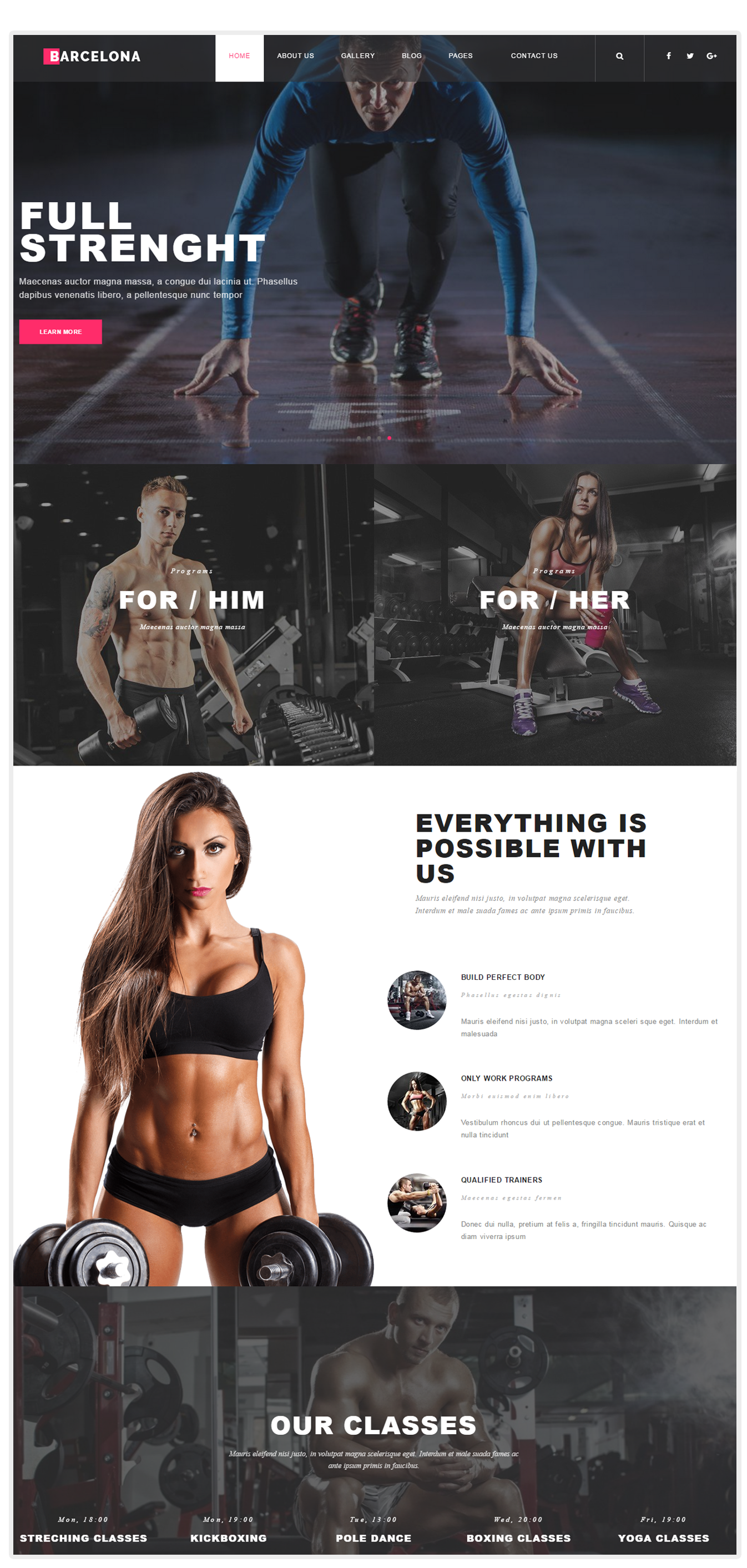 Barcelona - Fitness WordPress theme