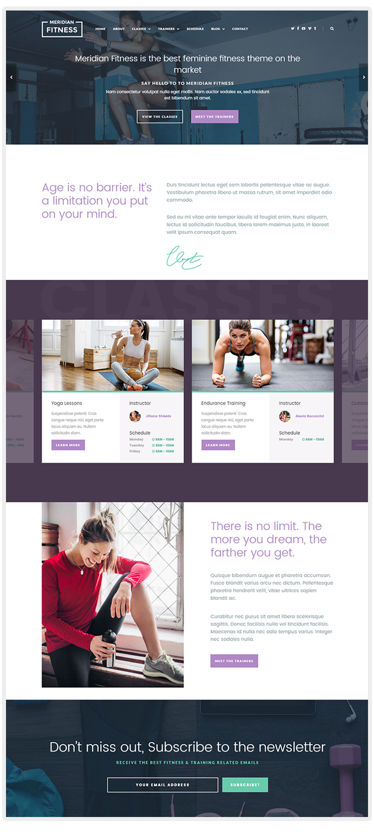 Meridian Fitness – Fitness, Gym, & Sports WordPress Theme