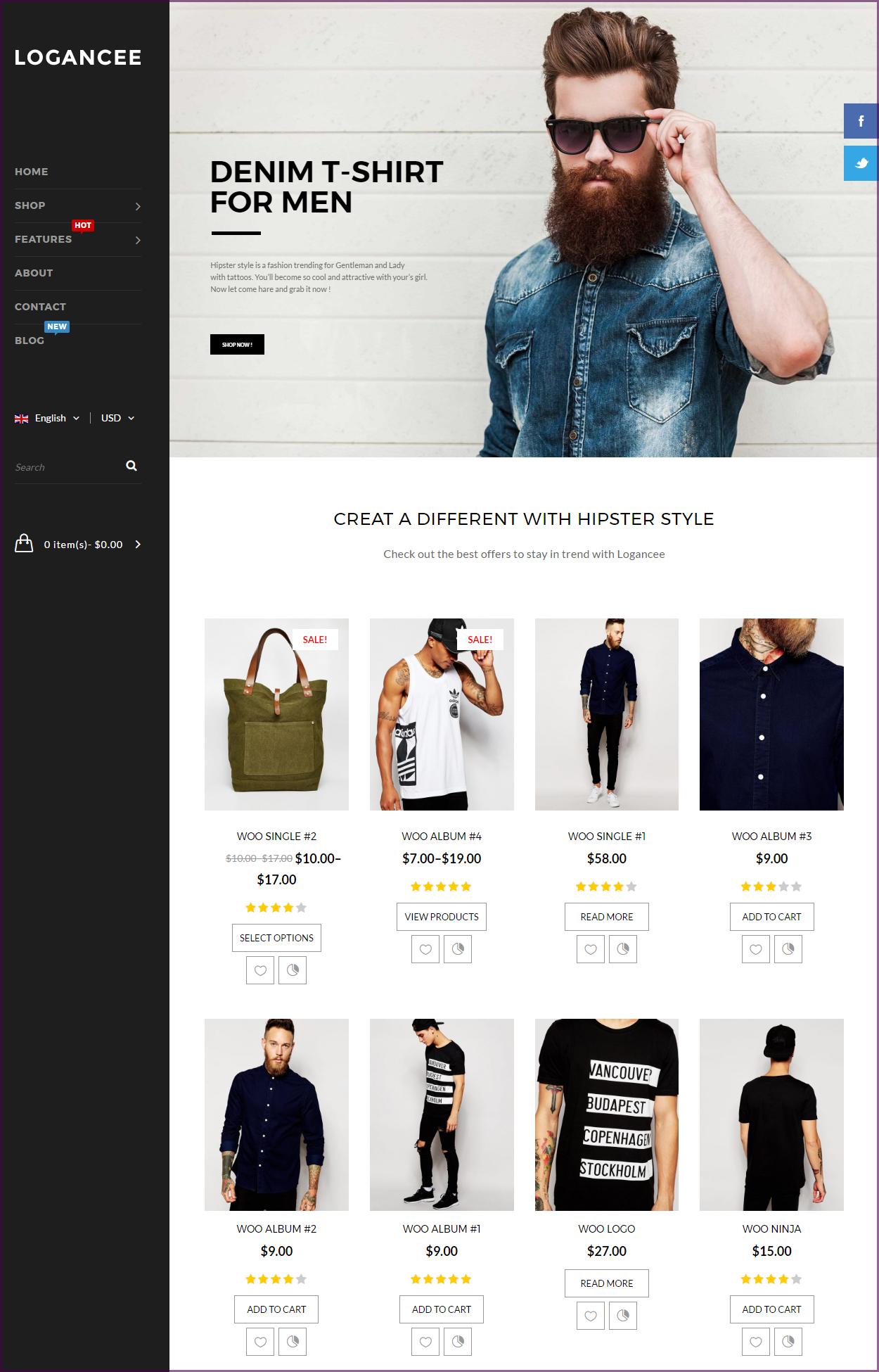 Logancee responsive wordpress ecommerce theme