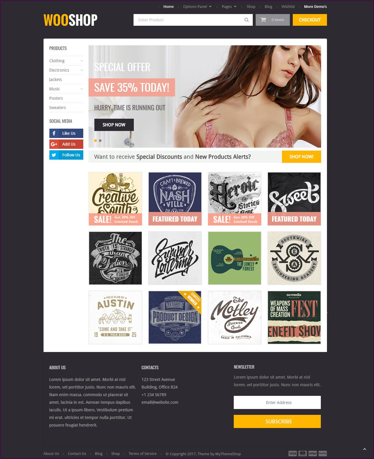 Woo Shop WordPress Ecommerce theme