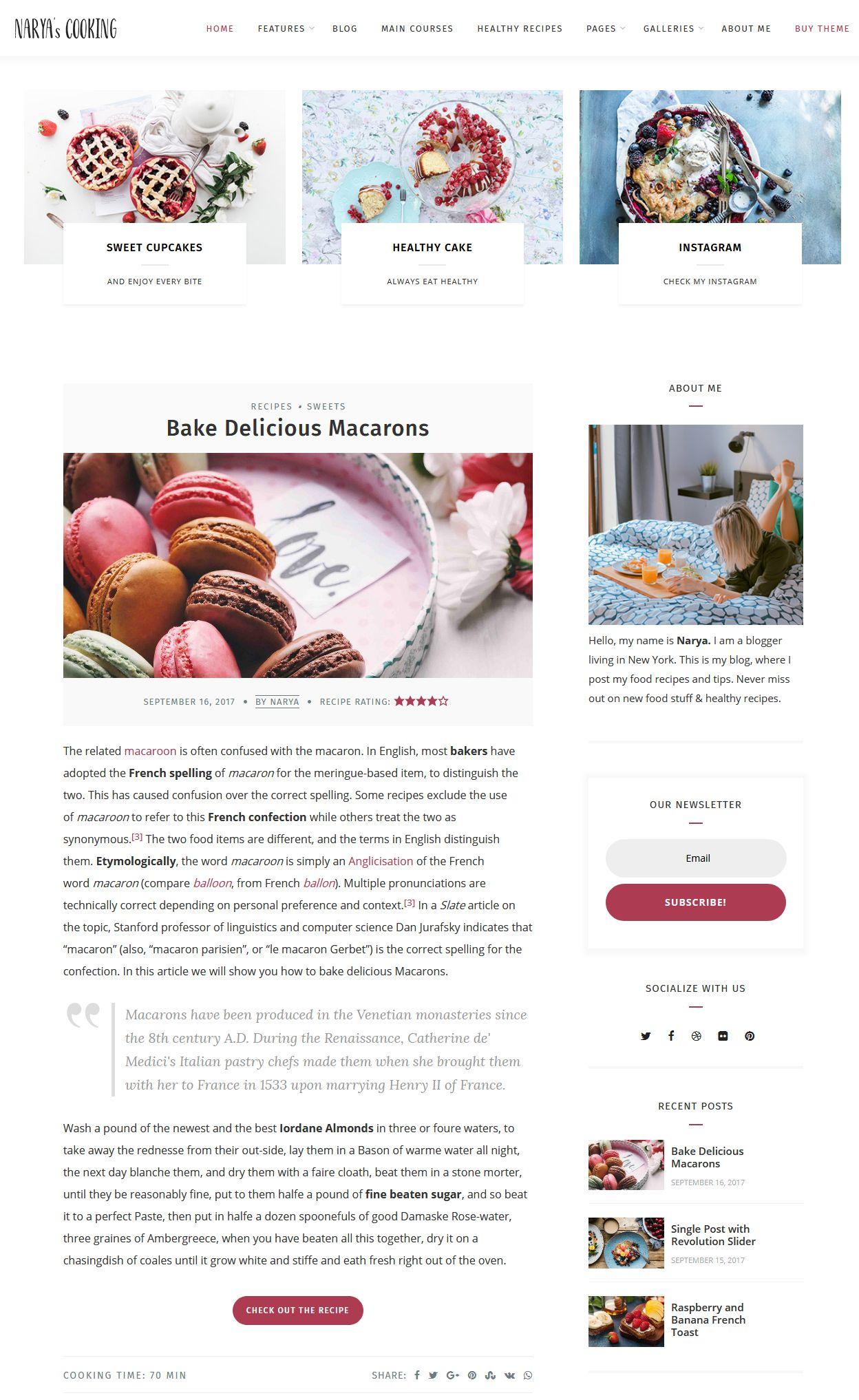 Narya - Top wordpress food blog themes