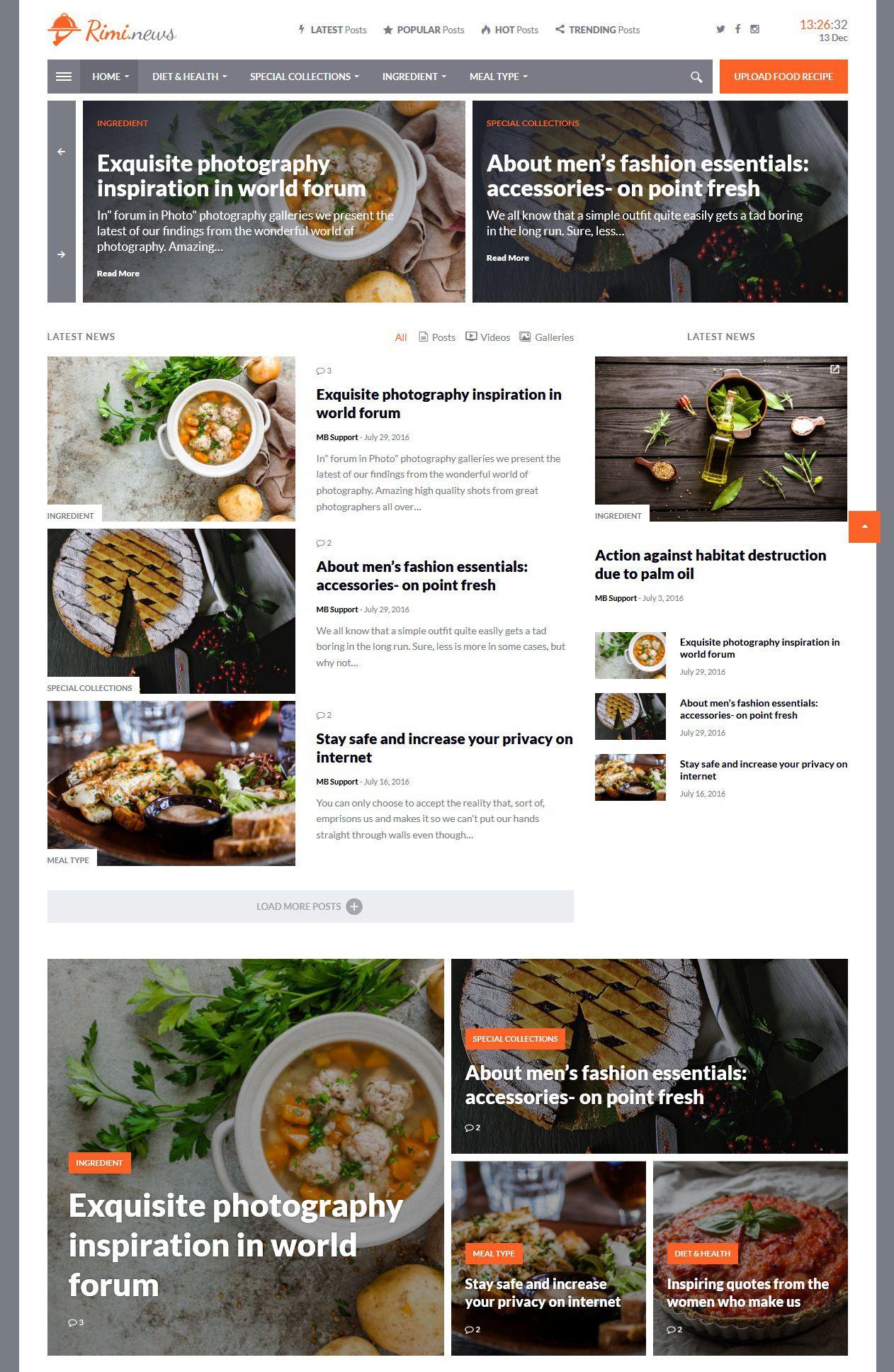 Rimi - WordPress food blog themes responsive