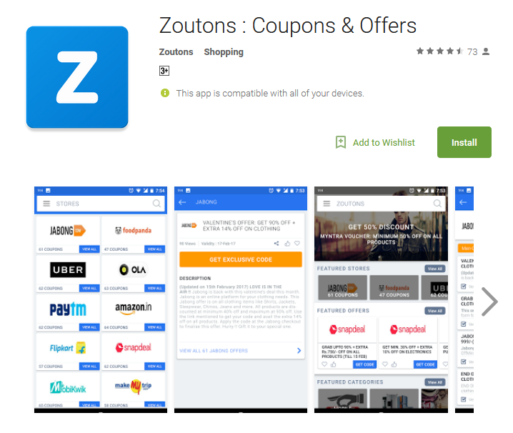Zoutons App Google Play Store