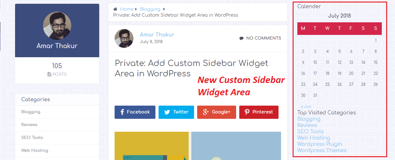 Custom sidebars in wordpress