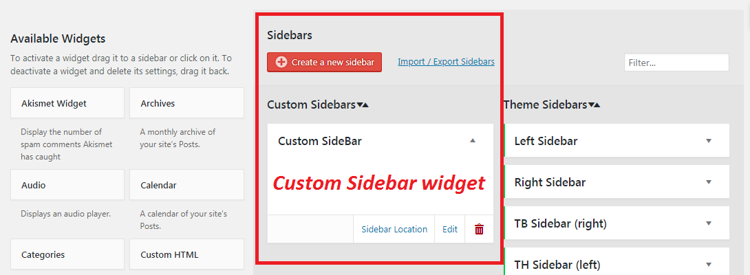 add new custom sidebar widget in worpress