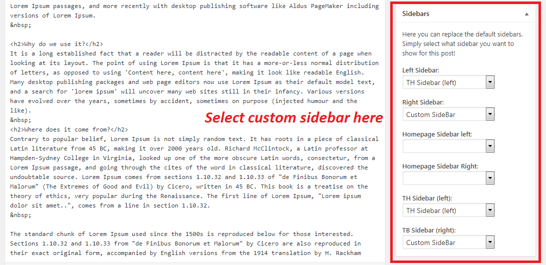 select custom sidebars for pages and posts