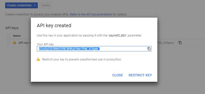 API Key Created for Youtube
