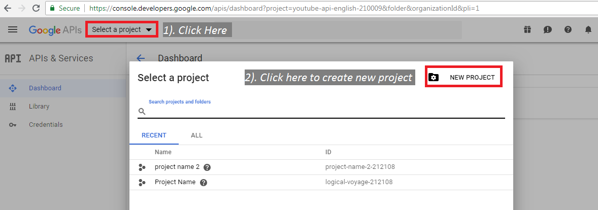 Create Project create Api key for youtube